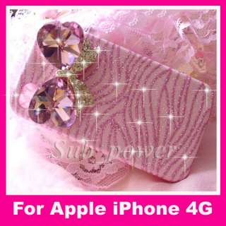 3D Rhinestone BOW on pink zebra Bling Crystal Case cover for iPhone 4