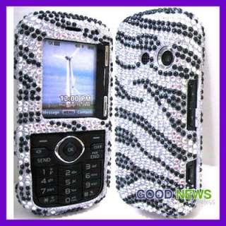 Silver+Black Zebra Crystal Diamond Bling Case Phone Cover for LG