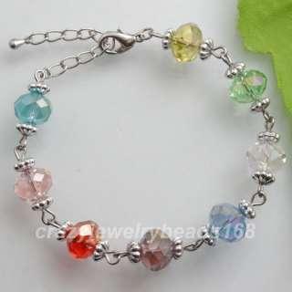Multicolor Crystal Faceted Beads Adjustable Bracelet 7 K271