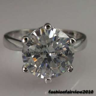 New 18K White Gold GP Swarovski Crystal Solitaire Engagement Wedding