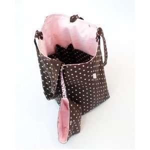 Cydnee Designs Brown and Pink Polka Dot Diaper Bag Baby