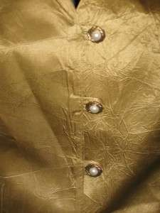 NOS Vintage Gold Satin Lace Up Blouse Skirt Dress Peek A Boo Lace S/M