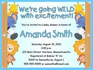 Baby Zoo Animals Baby Shower Invitations Personalized Blue or Pink