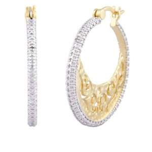 18k Yellow Gold Plated Sterling Silver Diamond Accent Hoop