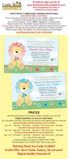 Sweet Teddy Bear Flower Baby Shower Invitations