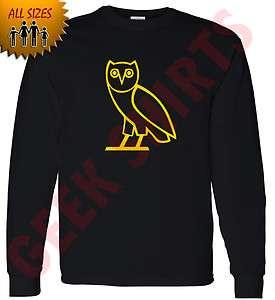 Octobers very own LONG sleeve t shirt OVOxo owl tee S 5X shirt YELLW