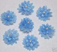Cute Organza Flower w/ pearl Appliques x 70 Blue Trim