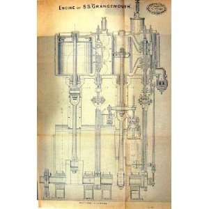 TRACING PAPER ENGINE GRANGEMOUTH 1878 ENGINEERING