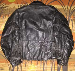 vtg 60s BROOKS BLACK LEATHER MOTORCYCLE JACKET biker coat 44 must see