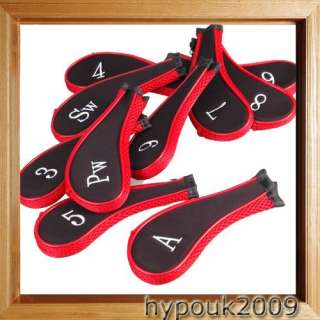 10pcs ★ Black & Red Golf Club Iron Headcover Head Cover Nylon Pad