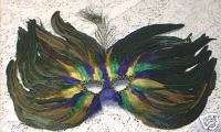 PURPLE GREEN GOLD PEACOCK FEATHER MASK MASQUERADE