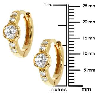 Stunning CZ Huggies Gold Plated Earrings Snap Down Back