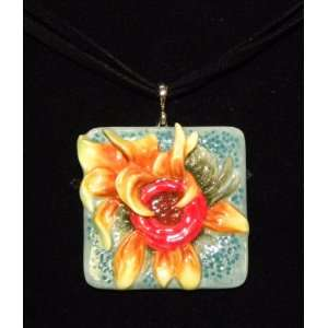 Franz Porcelain Van Gogh Sunflowers Rhodium plated brass & porcelain