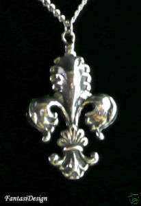 Art Nouveau Fleur de Lis French Baroque Style Pewter Pendant Necklace