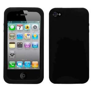 For apple iphone 4 Solid Skin Cover black+free lcd screen