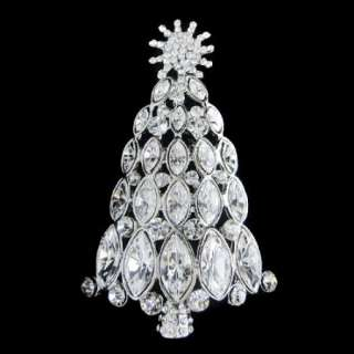 Christmas Tree Brooch Pin Swarovski Crystal Clear Hot Snowflake