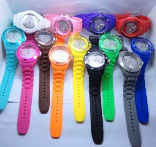 Silicone Gel Jelly Candy Heart Crystal Quartz Watch ODM Wrist 13 color