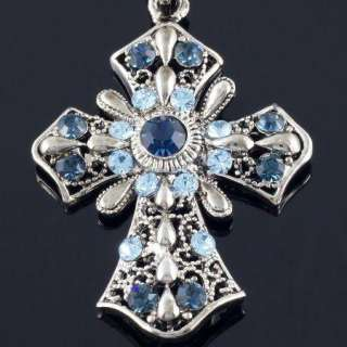 N186C Blue Crystal Noble Cross Pendant Necklace New