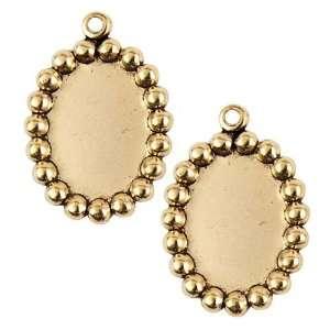 Nunn Design Antiqued Gold Plated Oval Bezel Pendant