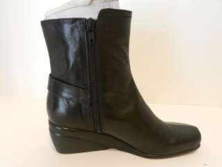 New $109 Nine West US 5.5 Wedge Black Leather Ankle Buckle Boots