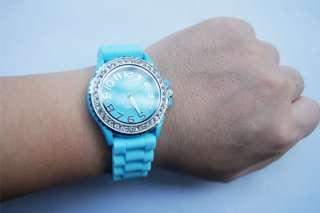 Fashion Plastic Lady Girl Jelly Candy Silicone Wrist Sports Quartz