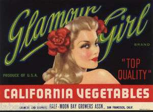 CRATE LABEL HALF MOON BAY PIN UP GLAMOUR GIRL 1950S