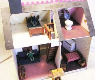 CUTE WOODEN VICTORIAN DOLL HOUSE WITH PINK GINGERBREAD  PLUS 12 PLAY