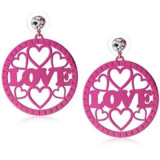 Harajuku Lovers Lucite Girls Pink Love Heart Drop Circle Earrings