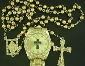 ROSARY ICEDOUT CRYSTAL LOOK GOLD TONE BEADS+CHARM+WATCH