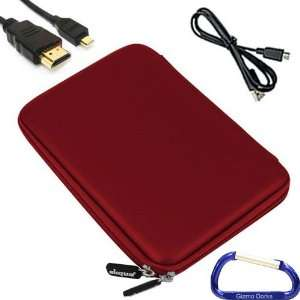 Gizmo Dorks Hard EVA Cover Case (Red), USB, and HDMI Cable