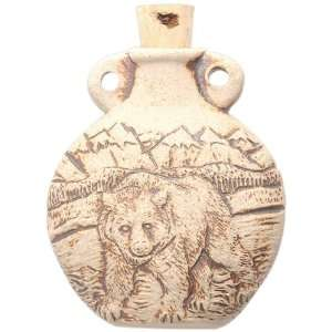 Peruvian Hand Crafted Ceramic High Fire Bear Bottle