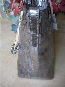 228 MICHAEL KORS NICKEL MIRROR METALLIC MONOGRAM SHOPPER TOTE GRAB BAG