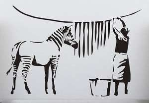 Banksy Graffiti Washed Zebra Stripes Large Vinyl Wall Stickers Classic