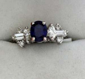 Natural Blue Sapphire Ring in a Diamond Setting