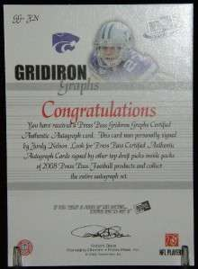 JORDY NELSON 2008 PRESS PASS GRIDIRON GRAPHS RC AUTO
