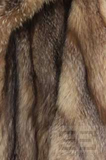 Designer Beige & Brown Fox Fur Full Length Coat