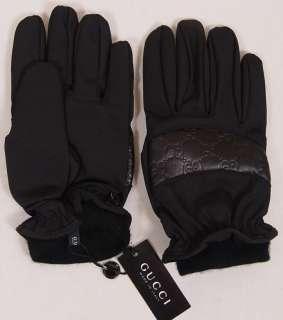 GUCCI GLOVES $365 BLACK NYLON/LEATHER GUCCISSIMA LOGO SKI/WINTER