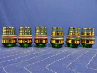 of 6 Vintage Green With Gold White Red Stripes Shot Glasses N72