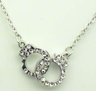 New Silver Tone Handcuff Crystal Pendant Necklace.H1