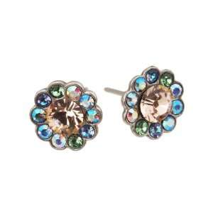 Michal Negrin Silver Coating Flower Earrings with Peach and Multicolor