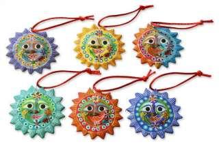 LORD OF THE SUN 6 Ceramic HANDMADE Christmas Ornaments