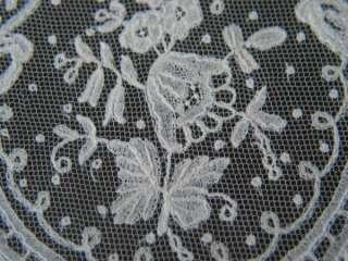 Vtg Antique Brussels Applique Lace Wedding Bridal Handerchief 19th