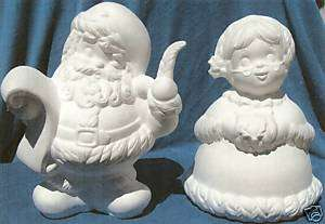 MR. & MRS. SANTA CLAUS CERAMIC BISQUE CHRISTMAS