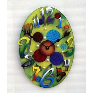 David Scherer Small Modern Oval Green Wall Clock Home