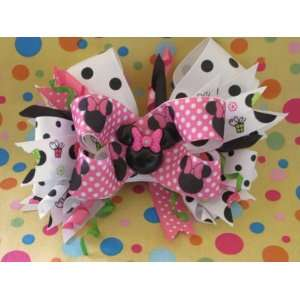 Pink Black Dots Minnie Mouse Hair Bow Beauty
