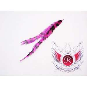 Double Grizzly Hair Extension Feather (Hot Pink/Black