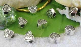 30 Tibetan silver heart bead fit charm bracelet FC10960