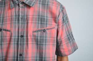 NEW MENS LRG RED MONKEY WRENCH PLAID BUTTON DOWN SHORT SLEEVE SHIRT