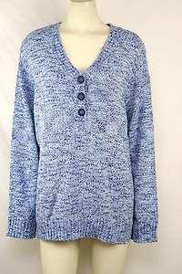 Karen Scott NEW Plus Sz 2X/18W/20W Henley Light Blue Sweater Top NWT