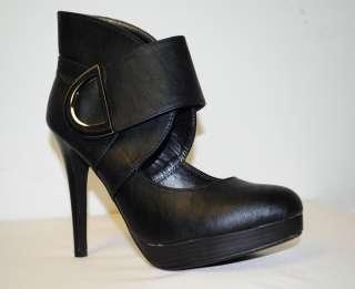 Machi Mary Jane Ankle High Heel Bootie Black Daisy 1